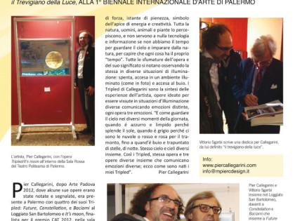 Pier Callegarini, il trevigiano della luce alla 1a Biennale Internazionale d'Arte di Palermo